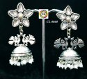 Cl Code Oxidized German Silver Brass Stone And Crystal Stone Fashion Jewellery Earrings