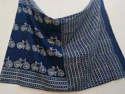 Bagru Indigo Dabu Hand Block Print Cotton Saree