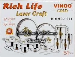 Rich Life Dinner Set Stainless Steel Lazer Printed
