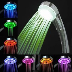 Bathroom Overhead Shower With 7 Color Automatic Changing LED Lights - Silver