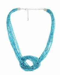 Turquoise & Golden Glass Seed Beads Necklace