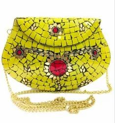 Female Handbags Yellow Kun Mosaic Style Evening Ladies Clutch Bags For Party