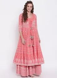 Ankle Length Printed Pink Double Layered Cotton Kurta With Jacket, Size: XS-7XL