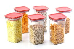 4 Pieces Kit Kat Plastic Unbreakable Square Storage Box/Cereal Dispenser Jar,