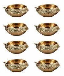 Engraved Round Brass Kuber Diwali Diya, Size: 2 Inches