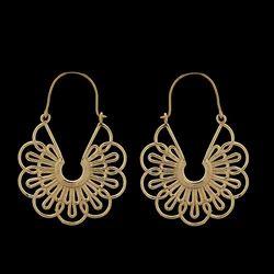 Brass Mandala Style Boho Hoop Earrings For Women