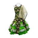 Party Wear Taffeta(metallic) And Tulle Girls Green Lehenga Choli