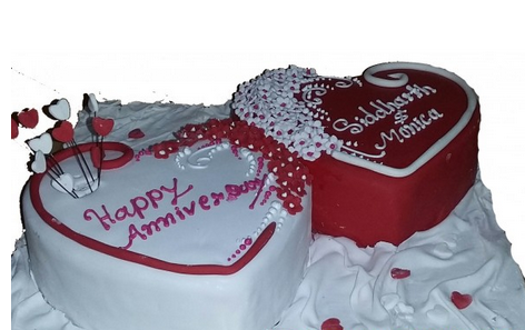 Customized Fondant Double Heart Shape Cake