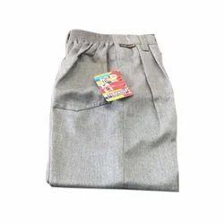 Grey Cotton Kids School Trouser