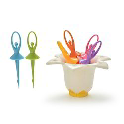 SRK Internationals Dancing Dolls Fruit Fork 6 Pcs With Stand, Size: Small