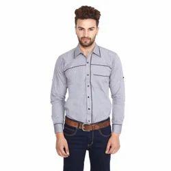 Gray Cotton Mens Casual Shirt, Size: 40