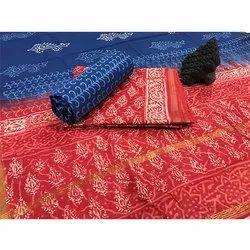 Vastrang Regular Wear Blue and Red Chanderi Suit Fabric