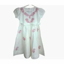 Casaul Wear Kids Cotton Chikan Embroidered Frock
