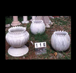 Off-white Marble Flower Pots