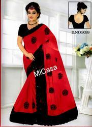 Georgette Red & Black Rangoli Sarees From , Construction Type: Machine Made