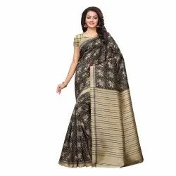 Beige & Black Colored Poly Silk Printed Casual Saree