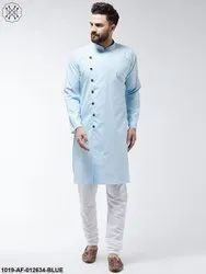 Cotton Sky Blue Solid Kurta & White Churidar Pyjama Set
