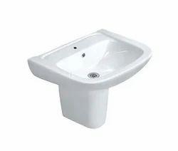 White Jaquar FNS-WHT-40801 Wash Basin With Half Pedestal