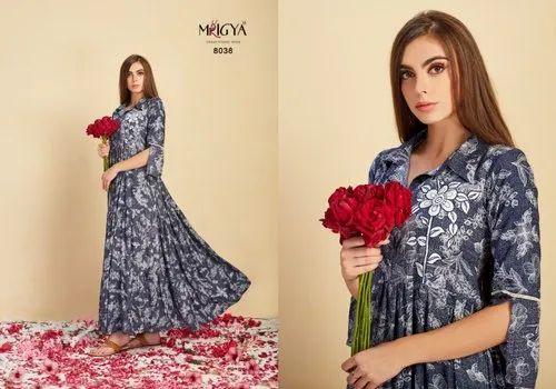 Blue Rayon Ladies Floral Printed Gown