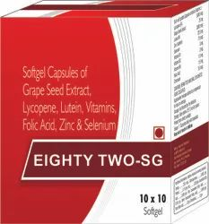 Softgel Capsules of Grape Seed Extract Lycopene Lutein Vitamins Folic Acid Zinc and Selenium