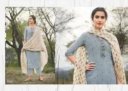 Cotton Fancy Printed Straight Salwar Suit