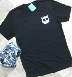 Half Sleeve Printed Men Round Neck Black T Shirt