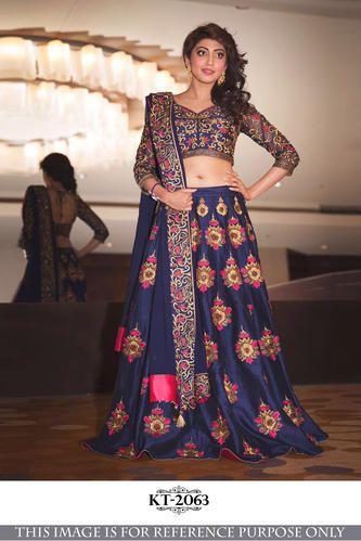 9b415ff3196a2f Women Bangalory Silk Ethnic Designer Semi-Stitched Lehenga Choli Kt 2063