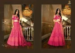Butterfly Net Fabric With Embroidery Gown for Womens Wear