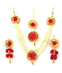 Party Wear Magenta Flower Gota Patti Jewellery Set- Anu Store