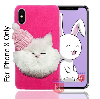 online store 92398 81e9a Soft Fluffy Fur Cartoon Kitty With Woolen Cap Back Cover For Iphone X Pink