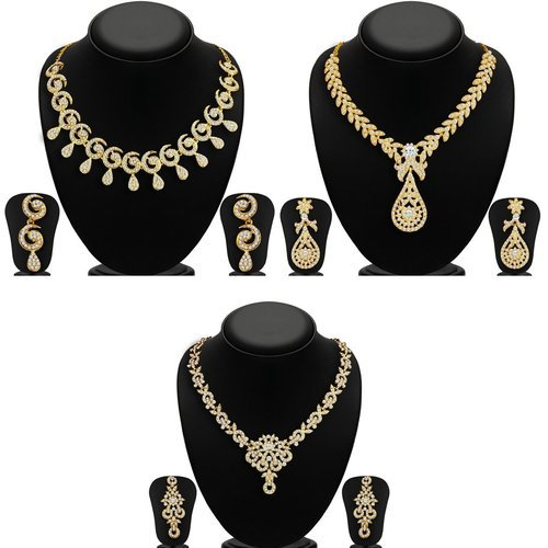 c6607807870 Wedding Golden Sukkhi Glimmery 3 Pieces Necklace Set Combo