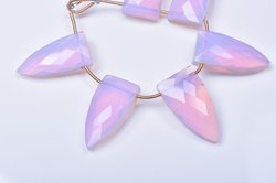 3 Pair 12x24mm Pink Opalite Quartz Faceted Long Pyramid Briolettes Beads