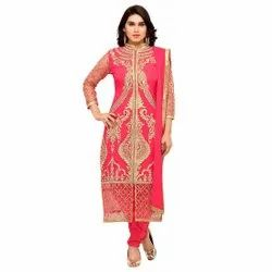 Unstitched Pink Georgette Suit, Dry clean