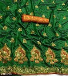 Banarasi Embroidered Silk Sarees, 5.5 M (separate Blouse Piece)