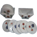 Beautiful Marble Inlay Tea Coasters