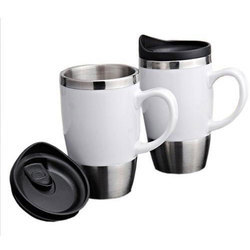 Promotional White Sipper Mug With Handle