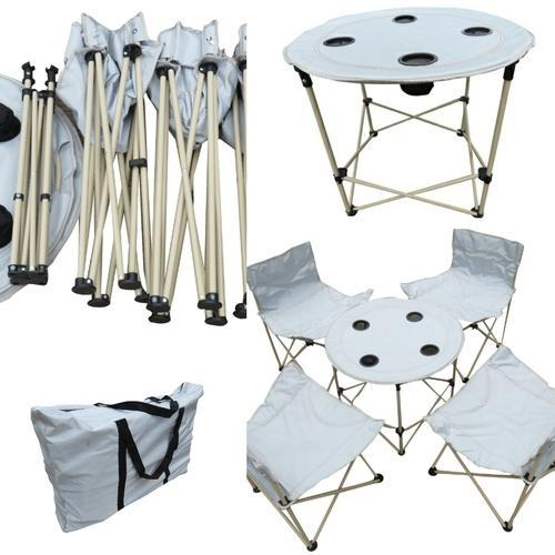 Folding Camping Chairs Table Set With Carry Bag Grey