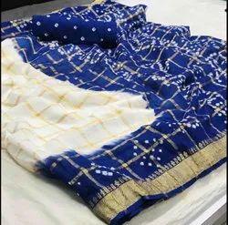 Block Prints White Cotton Bandhani Saree, 6.3 With Blouse Piece