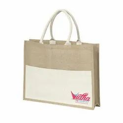 Brown And White Jute Shopping Carry Bag