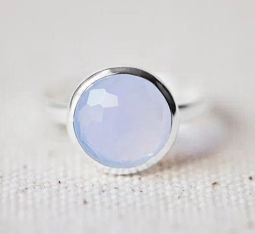 Aqua Chalcedony Stone Ring