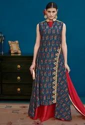 Midnight Blue And Cherry Red Silk Lehenga Kameez