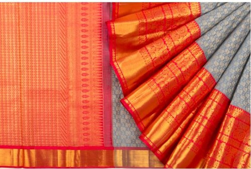 Kanchipuram Silk Brocade Grey Saree