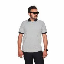 Half Sleeve Mens Polo Neck Cotton T Shirts, Size: M-XXL