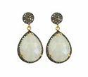 Nanplanetsilver Female Rainbow Moonstone Diamond Pave Set Earrings