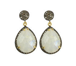 Nanplanetsilver Female Rainbow Moonstone Diamond Pave Set Earrings
