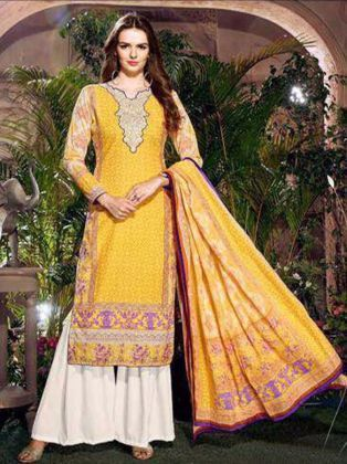 Yellow- White Designer Summer Suit, Ladies Ke Designer Suit, Women ...
