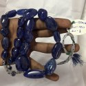 Natural Dark Blue Color Tanzanite Smooth Tumble Nuggets Beads Necklace Big Size