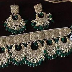 Ladies Gold Natural Uncut Diamond Polki Jadau Party Wear Necklace Set