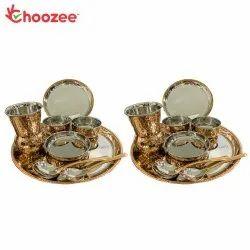 Choozee - Copper Thali Set of 2 (16 Pcs) of Plate, Bowl, Spoon & Matka Glass