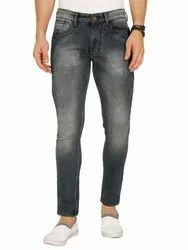 Men's Skinny Ankle Length Stretchable Jeans - Blue with Green Tint - STJN0019